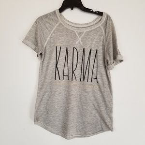 "Grayson Threads gray ""dear Karma"" graphic tee"